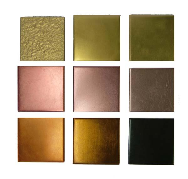 さまざまな金箔押しタイル