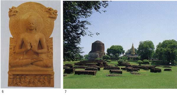 6.サールナート考古博物館「初転法輪仏坐像」、7.鹿野苑遺構よりダメーク塔を望む