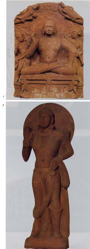 1.マトゥラー博物館「仏坐像」2.ニューデリー国立博物館「弥勒菩薩立像」