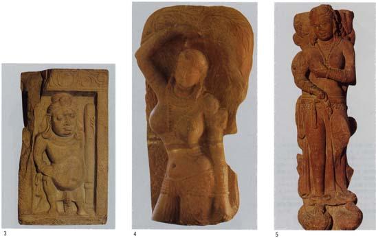 3.ニューデリー国立博物館「ヤクシャ像」 4.マトウゥラー博物館「樹下ヤクシニー像」 5.ニューデリー国立博物館「シュリー・ラクシュミー像」